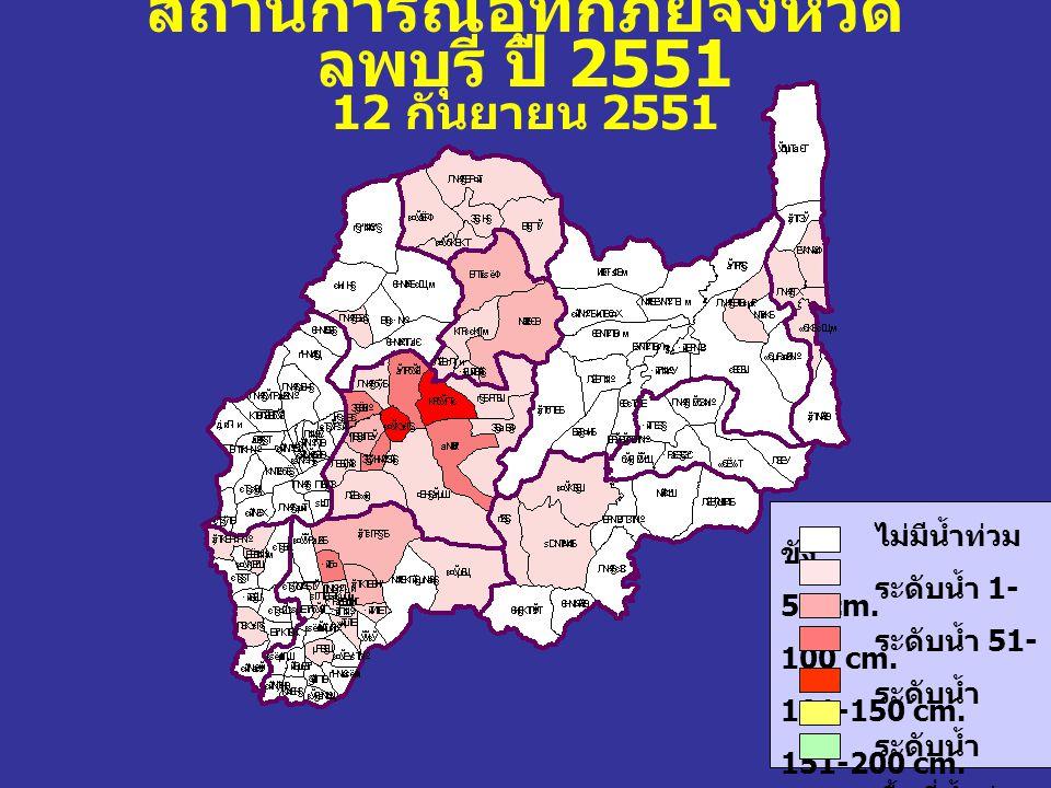 สถานการณ์อุทกภัยจังหวัด ลพบุรี ปี 2551 12 กันยายน 2551 ไม่มีน้ำท่วม ขัง ระดับน้ำ 1- 50 cm. ระดับน้ำ 51- 100 cm. ระดับน้ำ 101-150 cm. ระดับน้ำ 151-200