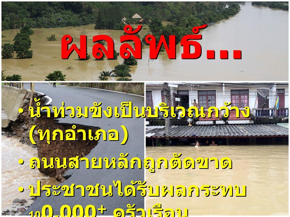 น้ำท่วมขังเป็นบริเวณกว้าง ( ทุกอำเภอ ) ถนนสายหลักถูกตัดขาด ประชาชนได้รับผลกระทบ 10 0,000 + ครัวเรือน น้ำท่วมขังเป็นบริเวณกว้าง ( ทุกอำเภอ ) ถนนสายหลัก