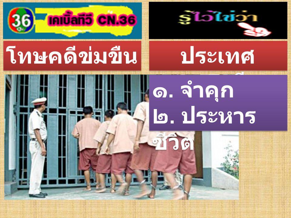 โทษคดีข่มขืน ประเทศไทย ๑. จำคุก ๒. ประหาร ชีวิต โดยการฉีด ยา ๑. จำคุก ๒. ประหาร ชีวิต โดยการฉีด ยา