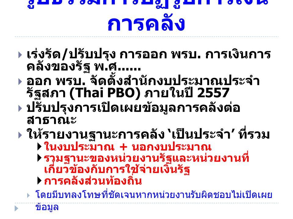 รูปธรรมการปฏิรูปการเงิน การคลัง  เร่งรัด / ปรับปรุง การออก พรบ. การเงินการ คลังของรัฐ พ. ศ......  ออก พรบ. จัดตั้งสำนักงบประมาณประจำ รัฐสภา (Thai PB