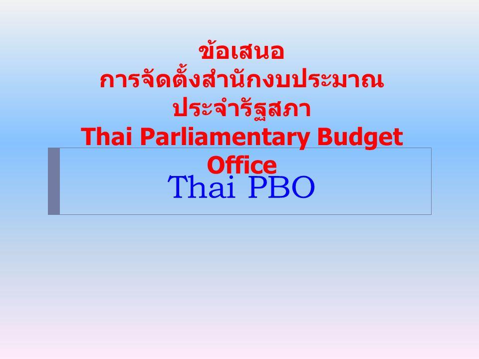 Thai PBO ข้อเสนอ การจัดตั้งสำนักงบประมาณ ประจำรัฐสภา Thai Parliamentary Budget Office