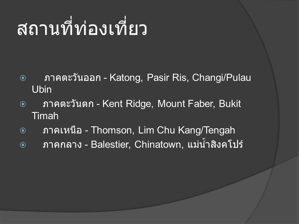 สถานที่ท่องเที่ยว  ภาคตะวันออก - Katong, Pasir Ris, Changi/Pulau Ubin  ภาคตะวันตก - Kent Ridge, Mount Faber, Bukit Timah  ภาคเหนือ - Thomson, Lim Chu Kang/Tengah  ภาคกลาง - Balestier, Chinatown, แม่น้ำสิงคโปร์
