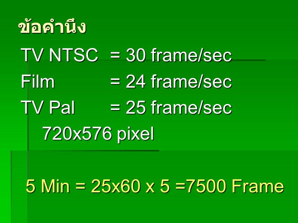 ข้อคำนึง TV NTSC = 30 frame/sec Film = 24 frame/sec TV Pal = 25 frame/sec 720x576 pixel 720x576 pixel 5 Min = 25x60 x 5 =7500 Frame 5 Min = 25x60 x 5