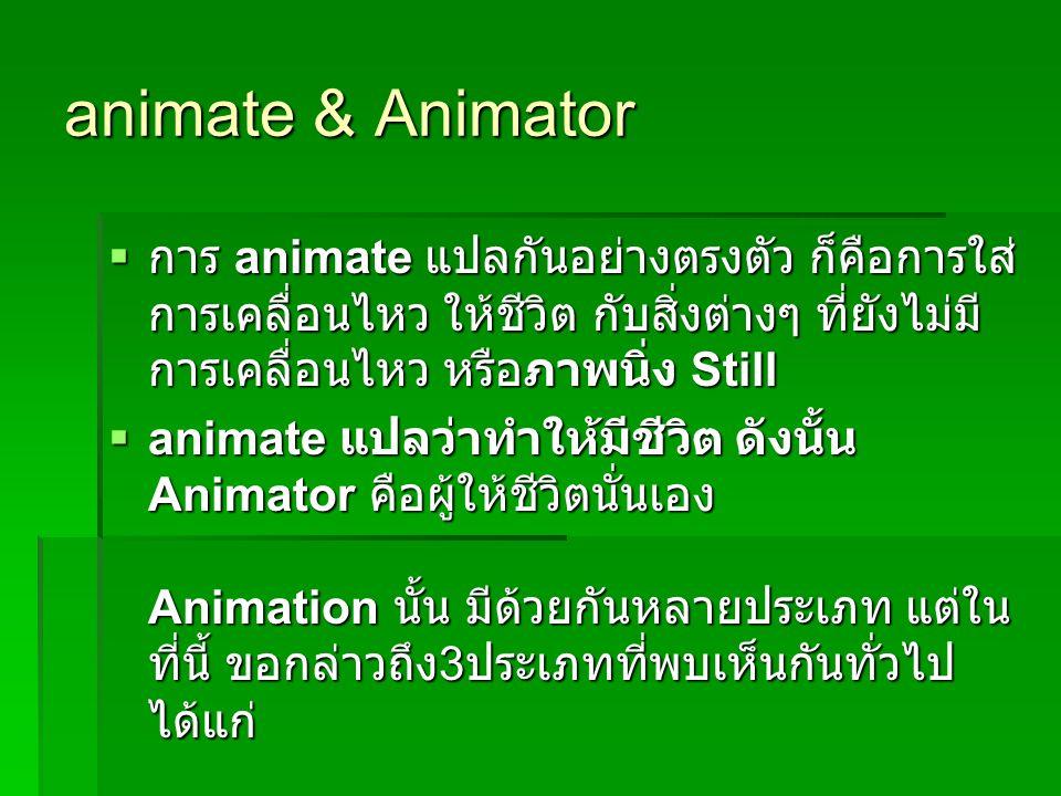 animate & Animator  การ animate แปลกันอย่างตรงตัว ก็คือการใส่ การเคลื่อนไหว ให้ชีวิต กับสิ่งต่างๆ ที่ยังไม่มี การเคลื่อนไหว หรือภาพนิ่ง Still  anima