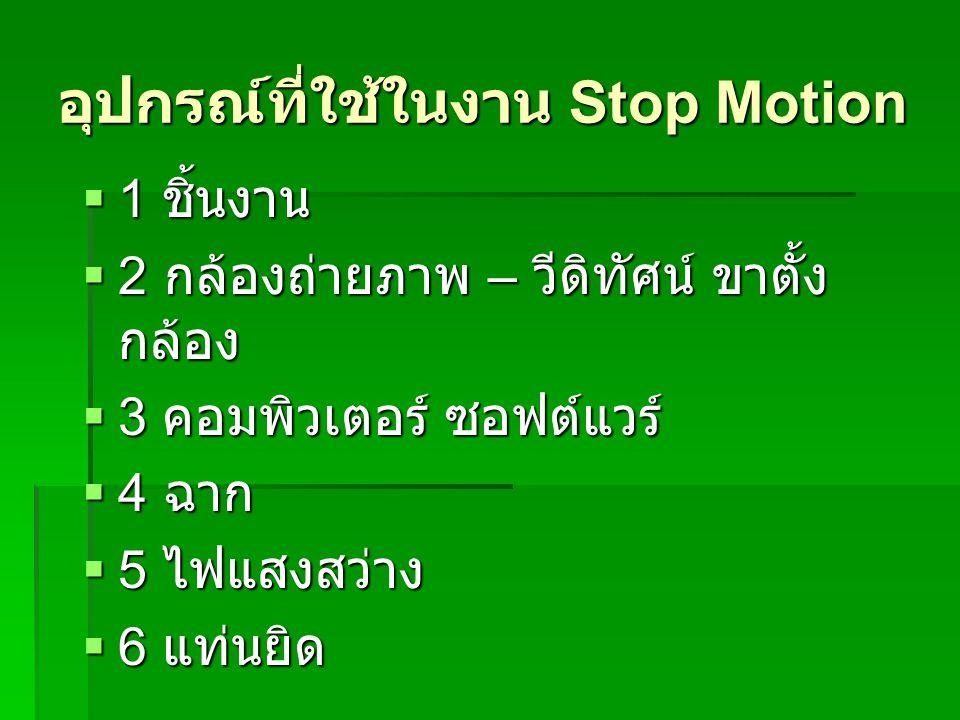 อุปกรณ์ที่ใช้ในงาน Stop Motion  1 ชิ้นงาน  2 กล้องถ่ายภาพ – วีดิทัศน์ ขาตั้ง กล้อง  3 คอมพิวเตอร์ ซอฟต์แวร์  4 ฉาก  5 ไฟแสงสว่าง  6 แท่นยิด