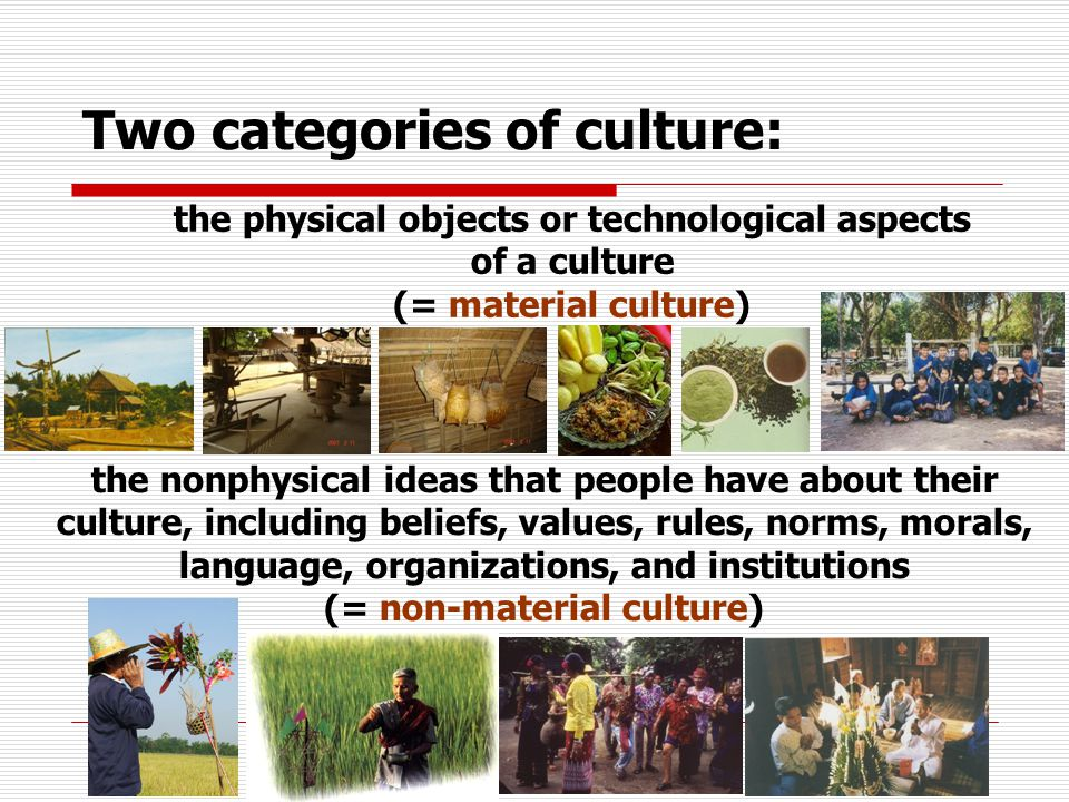the physical objects or technological aspects of a culture (= material culture) Two categories of culture: the nonphysical ideas that people have about their culture, including beliefs, values, rules, norms, morals, language, organizations, and institutions (= non-material culture)