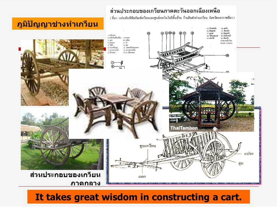 ส่วนประกอบของเกวียน ภาคกลาง ภูมิปัญญาช่างทำเกวียน It takes great wisdom in constructing a cart.