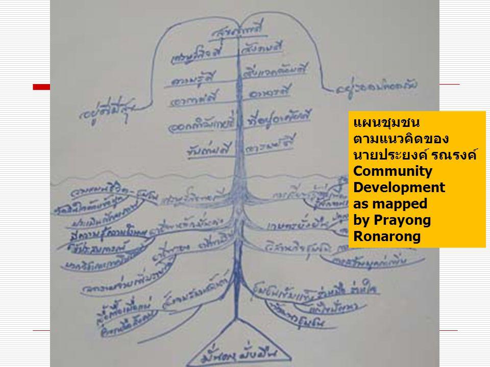 แผนชุมชน ตามแนวคิดของ นายประยงค์ รณรงค์ Community Development as mapped by Prayong Ronarong