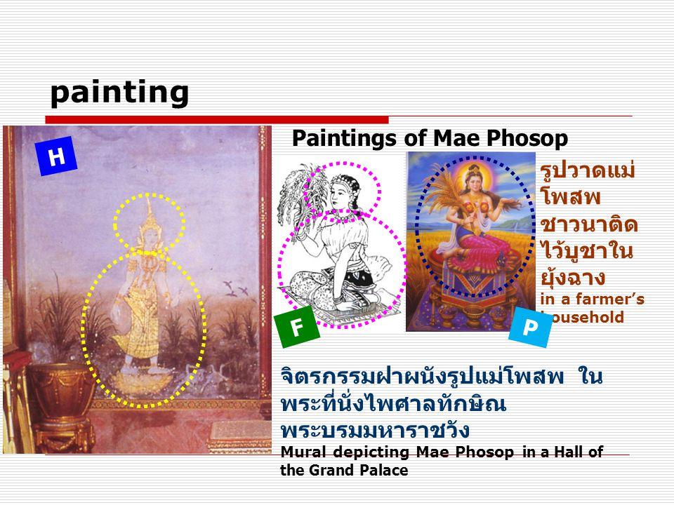 painting จิตรกรรมฝาผนังรูปแม่โพสพ ใน พระที่นั่งไพศาลทักษิณ พระบรมมหาราชวัง Mural depicting Mae Phosop in a Hall of the Grand Palace รูปวาดแม่ โพสพ ชาวนาติด ไว้บูชาใน ยุ้งฉาง in a farmer's household H Paintings of Mae Phosop F P