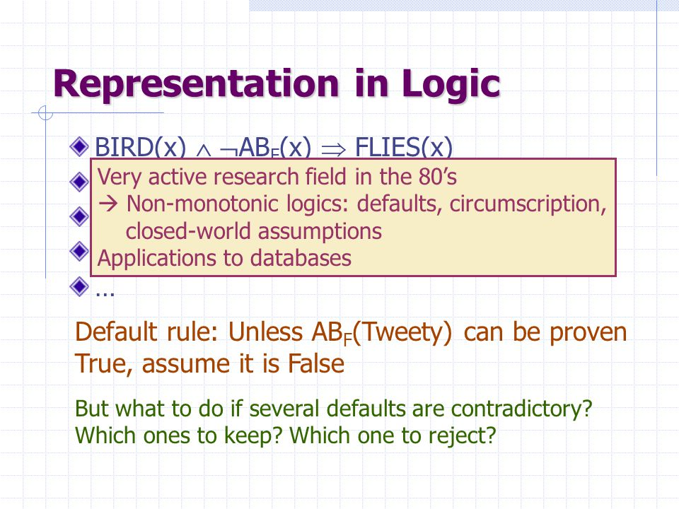 Representation in Logic BIRD(x)   AB F (x)  FLIES(x) PENGUINS(x)  AB F (x) BROKEN-WINGS(x)  AB F (x) BIRD(Tweety) … Default rule: Unless AB F (Tweety) can be proven True, assume it is False But what to do if several defaults are contradictory.