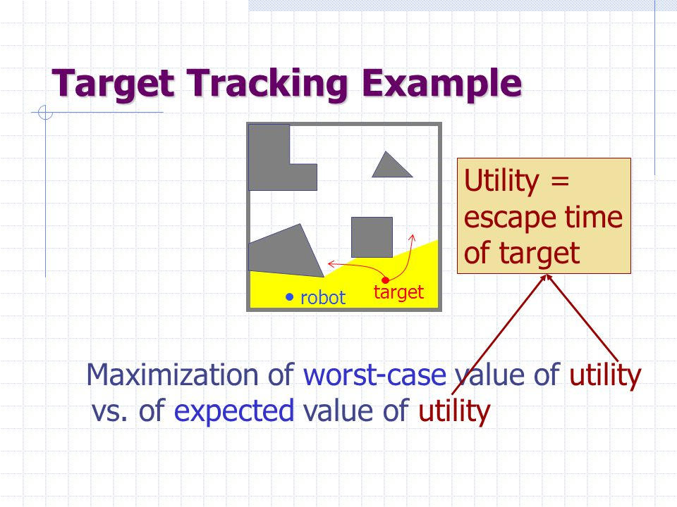 Target Tracking Example Maximization of worst-case value of utility vs. of expected value of utility target robot Utility = escape time of target