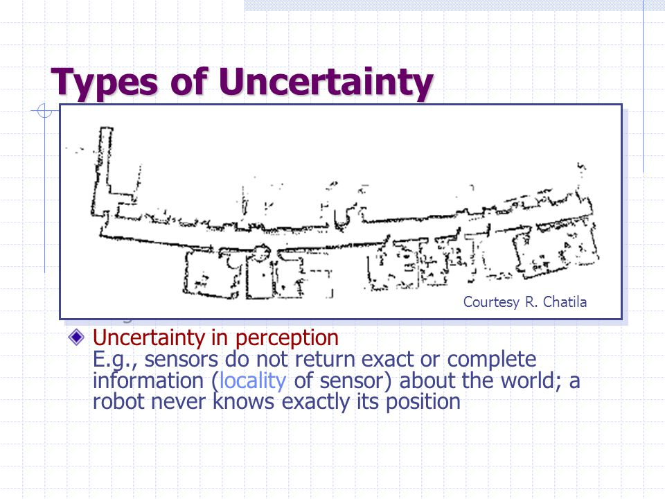 Types of Uncertainty Uncertainty in prior knowledge E.g., some causes of a disease are unknown and are not represented in the background knowledge of a medical-assistant agent Uncertainty in actions E.g., actions are represented with relatively short lists of preconditions, while these lists are in fact arbitrary long Uncertainty in perception E.g., sensors do not return exact or complete information (locality of sensor) about the world; a robot never knows exactly its position Courtesy R.