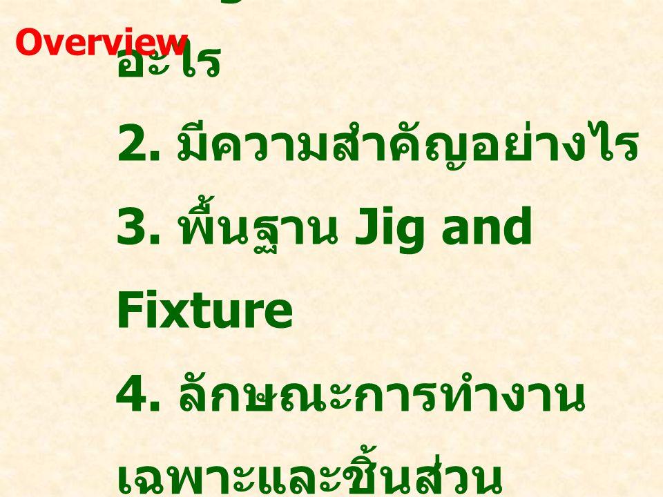 1. Jig and Fixture คือ อะไร 2. มีความสำคัญอย่างไร 3. พื้นฐาน Jig and Fixture 4. ลักษณะการทำงาน เฉพาะและชิ้นส่วน 5. การประยุกต์ใช้ Overview
