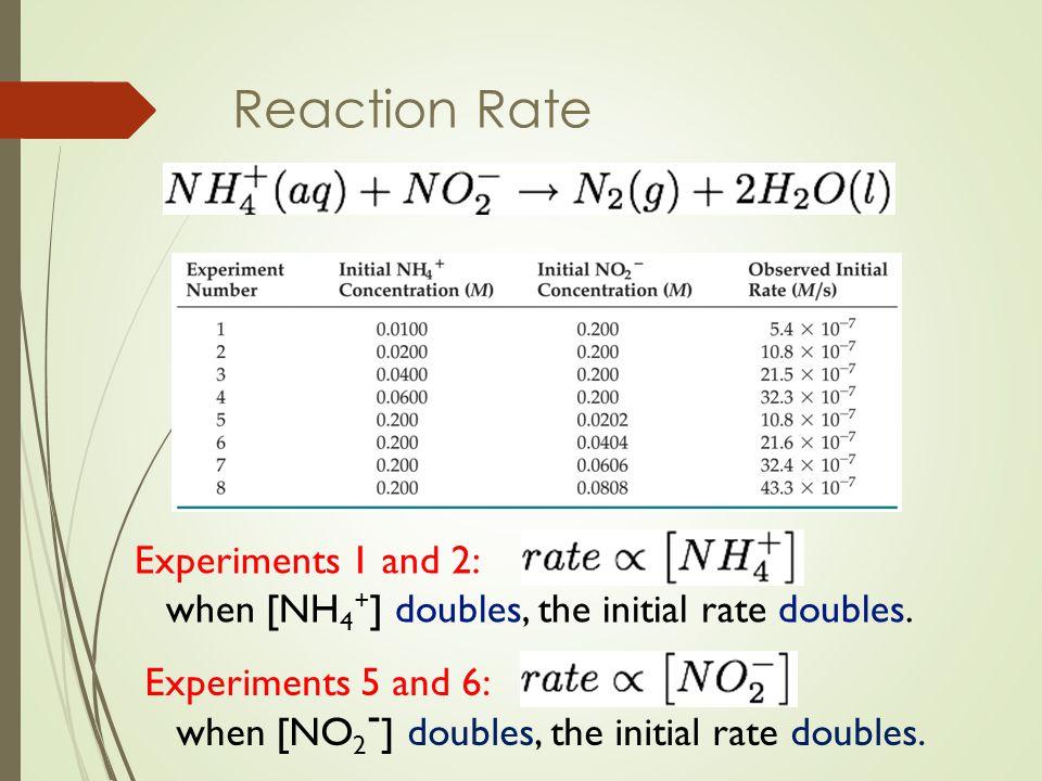 การหาอันดับและสมการกฎอัตราของปฏิกิริยา เลือก rate ของการทดลองครั้งที่ 1 และ 2 เพื่อหาค่า c