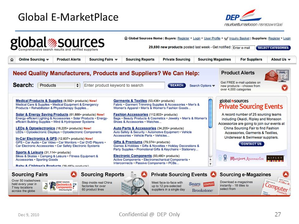 Dec 9, 2010 Confidential @ DEP Only 27 Global E-MarketPlace