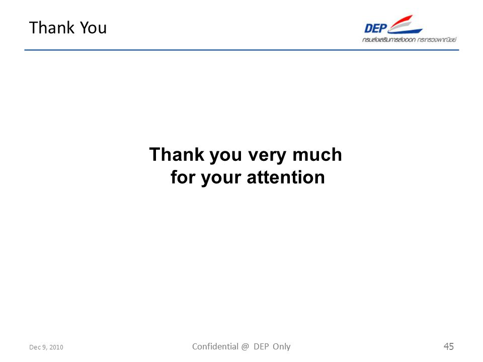 Dec 9, 2010 Confidential @ DEP Only 45 Thank You Thank you very much for your attention