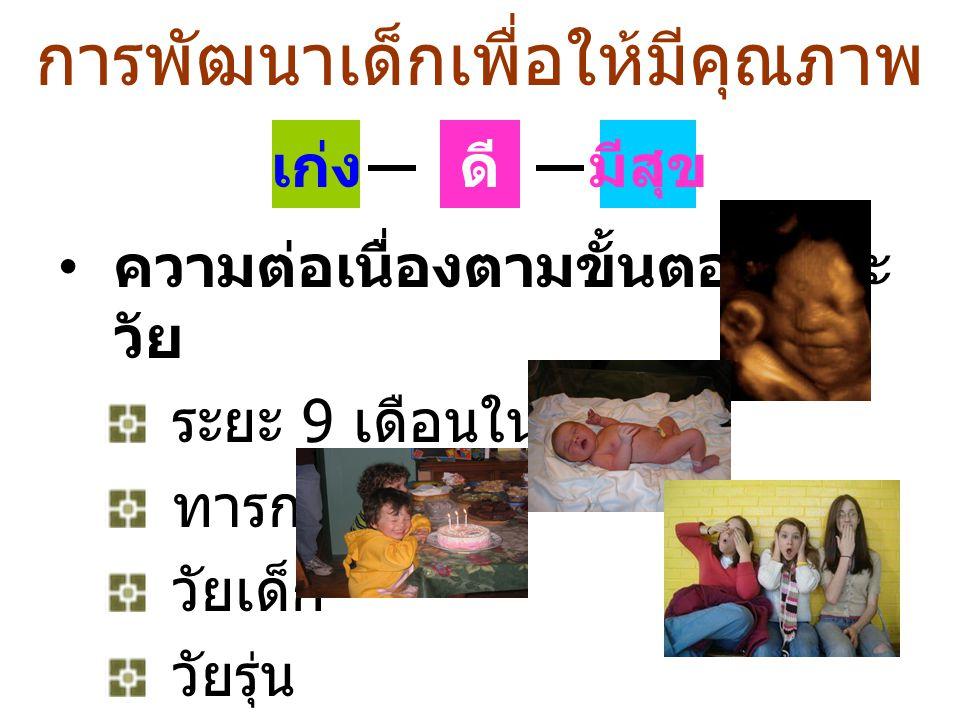การพัฒนาเด็กเพื่อให้มีคุณภาพ ดี ความต่อเนื่องตามขั้นตอน และ วัย ระยะ 9 เดือนในครรภ์ ทารก วัยเด็ก วัยรุ่น มีสุขเก่ง