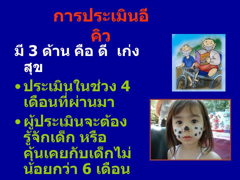 การประเมินอี คิว มี 3 ด้าน คือ ดี เก่ง สุข ประเมินในช่วง 4 เดือนที่ผ่านมา ผู้ประเมินจะต้อง รู้จักเด็ก หรือ คุ้นเคยกับเด็กไม่ น้อยกว่า 6 เดือน ไม่ควรนำ