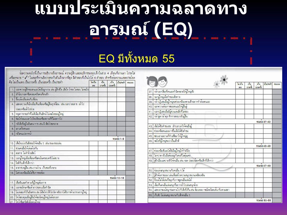 แบบประเมินความฉลาดทาง อารมณ์ (EQ) EQ มีทั้งหมด 55 ข้อ