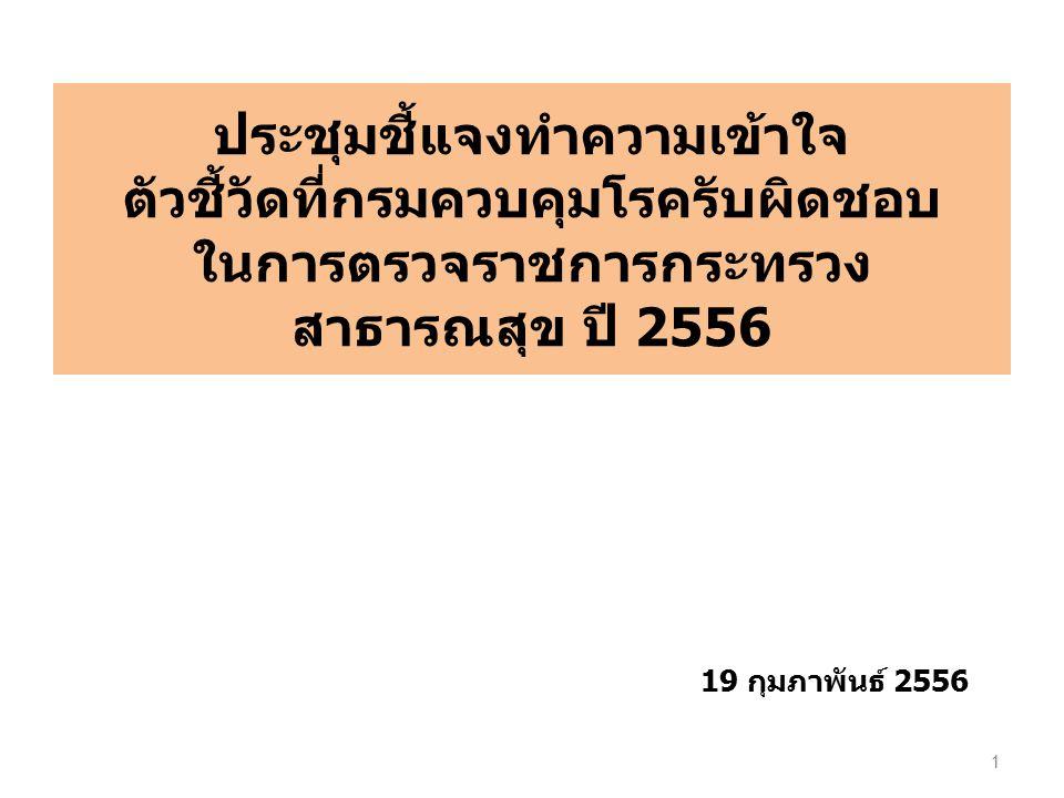 ประชุมชี้แจงทำความเข้าใจ ตัวชี้วัดที่กรมควบคุมโรครับผิดชอบ ในการตรวจราชการกระทรวง สาธารณสุข ปี 2556 1 19 กุมภาพันธ์ 2556