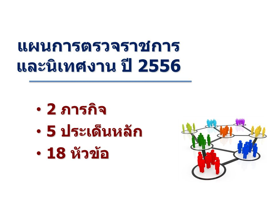 2 ภารกิจ 2 ภารกิจ 5 ประเด็นหลัก 5 ประเด็นหลัก 18 หัวข้อ 18 หัวข้อ แผนการตรวจราชการ และนิเทศงาน ปี 2556