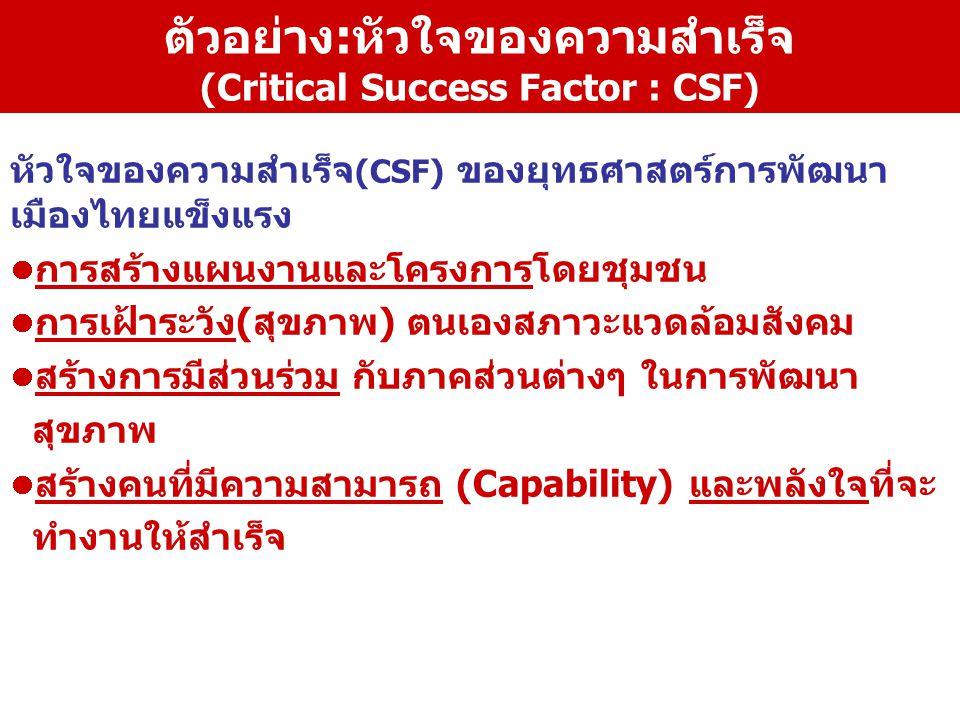 ตัวอย่าง:หัวใจของความสำเร็จ (Critical Success Factor : CSF) หัวใจของความสำเร็จ (CSF) ของยุทธศาสตร์การพัฒนา เมืองไทยแข็งแรง การสร้างแผนงานและโครงการโดย