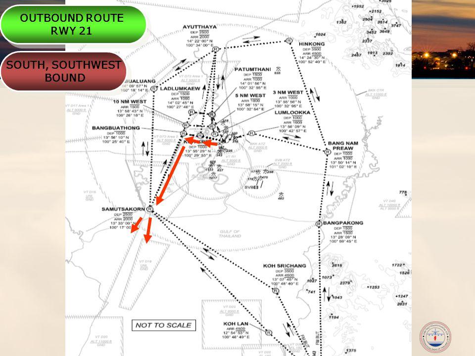 Non-Commercial Air Transport – ANSP Meeting 2009 เส้นทางบินขาเข้า (INBOUND ROUTES) กรณีใช้ทางวิ่ง 21/03