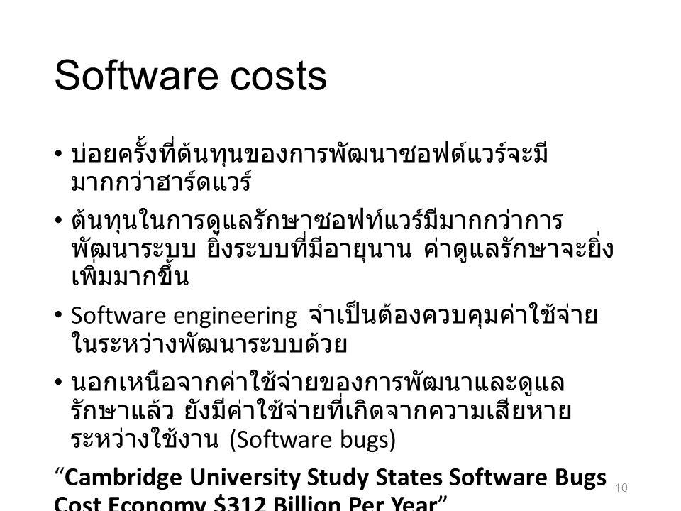 Software costs บ่อยครั้งที่ต้นทุนของการพัฒนาซอฟต์แวร์จะมี มากกว่าฮาร์ดแวร์ ต้นทุนในการดูแลรักษาซอฟท์แวร์มีมากกว่าการ พัฒนาระบบ ยิ่งระบบที่มีอายุนาน ค่าดูแลรักษาจะยิ่ง เพิ่มมากขึ้น Software engineering จำเป็นต้องควบคุมค่าใช้จ่าย ในระหว่างพัฒนาระบบด้วย นอกเหนือจากค่าใช้จ่ายของการพัฒนาและดูแล รักษาแล้ว ยังมีค่าใช้จ่ายที่เกิดจากความเสียหาย ระหว่างใช้งาน (Software bugs) Cambridge University Study States Software Bugs Cost Economy $312 Billion Per Year Cambridge, UK (PRWEB) January 08, 2013 10