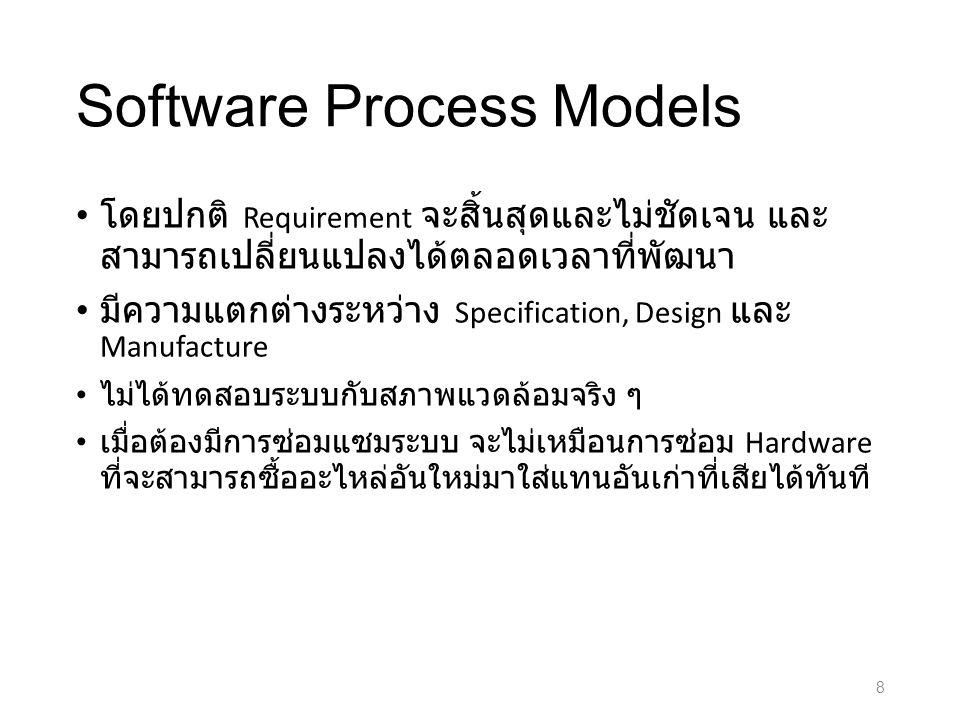 Software Process Models โดยปกติ Requirement จะสิ้นสุดและไม่ชัดเจน และ สามารถเปลี่ยนแปลงได้ตลอดเวลาที่พัฒนา มีความแตกต่างระหว่าง Specification, Design และ Manufacture ไม่ได้ทดสอบระบบกับสภาพแวดล้อมจริง ๆ เมื่อต้องมีการซ่อมแซมระบบ จะไม่เหมือนการซ่อม Hardware ที่จะสามารถซื้ออะไหล่อันใหม่มาใส่แทนอันเก่าที่เสียได้ทันที 8
