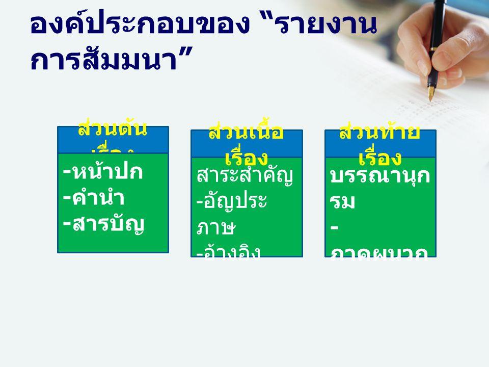 องค์ประกอบของ รายงาน การสัมมนา ส่วนต้น เรื่อง - หน้าปก - คำนำ - สารบัญ - สาระสำคัญ -อัญประ ภาษ -อ้างอิง - บรรณานุก รม - ภาคผนวก ส่วนเนื้อ เรื่อง ส่วนท้าย เรื่อง