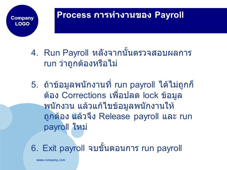 www.company.com Company LOGO Process การทำงานของ Payroll 4.Run Payroll หลังจากนั้นตรวจสอบผลการ run ว่าถูกต้องหรือไม่ 5. ถ้าข้อมูลพนักงานที่ run payrol