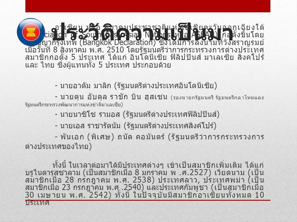 ประวัติความเป็นมา อาเซียน หรือ สมาคมประชาชาติแห่งเอเชียตะวันออกเฉียงใต้ (Association of South East Asian Nations หรือ ASEAN) ก่อตั้งขึ้นโดย ปฏิญญากรุง