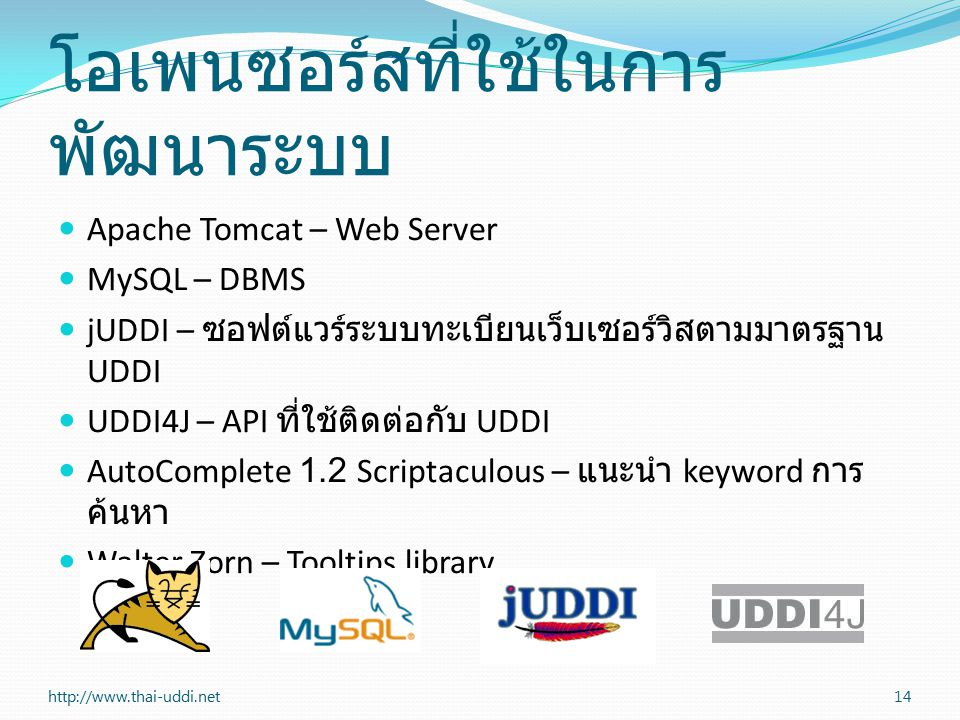 โอเพนซอร์สที่ใช้ในการ พัฒนาระบบ Apache Tomcat – Web Server MySQL – DBMS jUDDI – ซอฟต์แวร์ระบบทะเบียนเว็บเซอร์วิสตามมาตรฐาน UDDI UDDI4J – API ที่ใช้ติดต่อกับ UDDI AutoComplete 1.2 Scriptaculous – แนะนำ keyword การ ค้นหา Walter Zorn – Tooltips library http://www.thai-uddi.net14