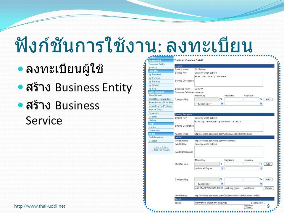 ฟังก์ชันการใช้งาน : ลงทะเบียน ลงทะเบียนผู้ใช้ สร้าง Business Entity สร้าง Business Service 9http://www.thai-uddi.net