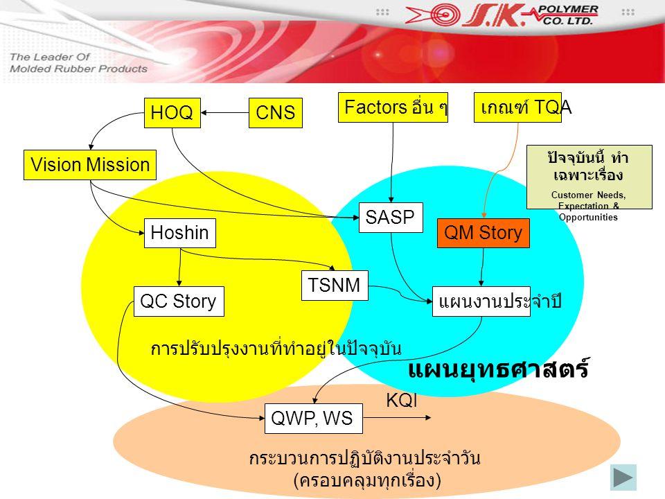 กระบวนการปฏิบัติงานประจำวัน ( ครอบคลุมทุกเรื่อง ) การปรับปรุงงานที่ทำอยู่ในปัจจุบัน Factors อื่น ๆ Vision Mission SASP TSNM Hoshin HOQCNS QC Story QWP