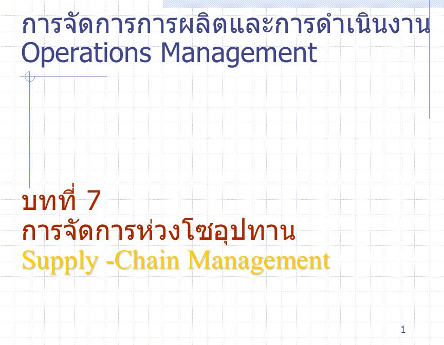 2 Outline  กลยุทธ์ห่วงโซ่อุปทาน The Strategic Importance of the Supply-Chain Global Supply-Chain Issues  การจัดซื้อ Purchasing Manufacturing Environments Service Environment Make-or-Buy Decisions