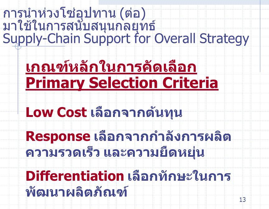 13 การนำห่วงโซ่อุปทาน ( ต่อ ) มาใช้ในการสนับสนุนกลยุทธ์ Supply-Chain Support for Overall Strategy เกณฑ์หลักในการคัดเลือก Primary Selection Criteria Lo