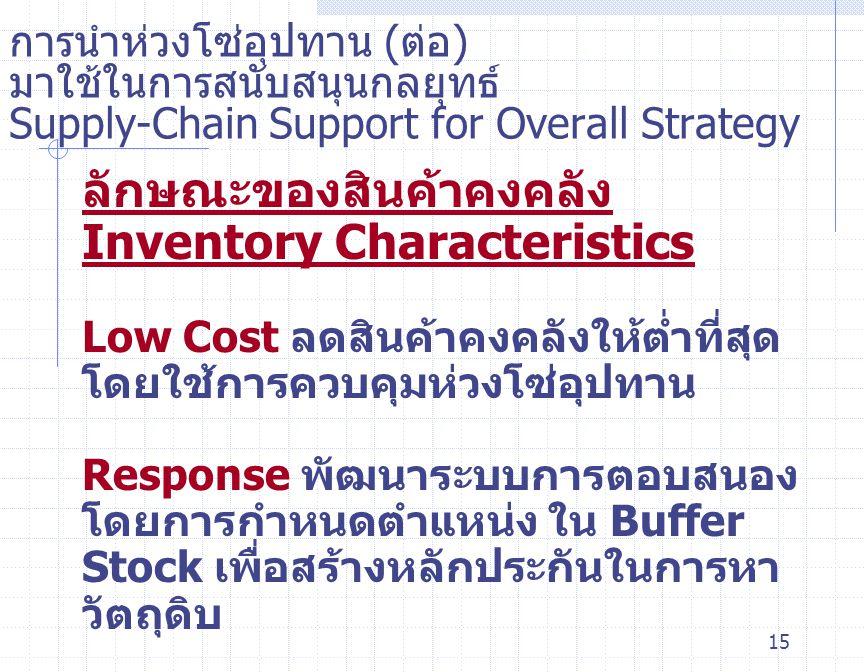 15 การนำห่วงโซ่อุปทาน ( ต่อ ) มาใช้ในการสนับสนุนกลยุทธ์ Supply-Chain Support for Overall Strategy ลักษณะของสินค้าคงคลัง Inventory Characteristics Low
