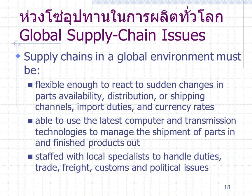 18 ห่วงโซ่อุปทานในการผลิตทั่วโลก Global Supply-Chain Issues  Supply chains in a global environment must be: flexible enough to react to sudden change