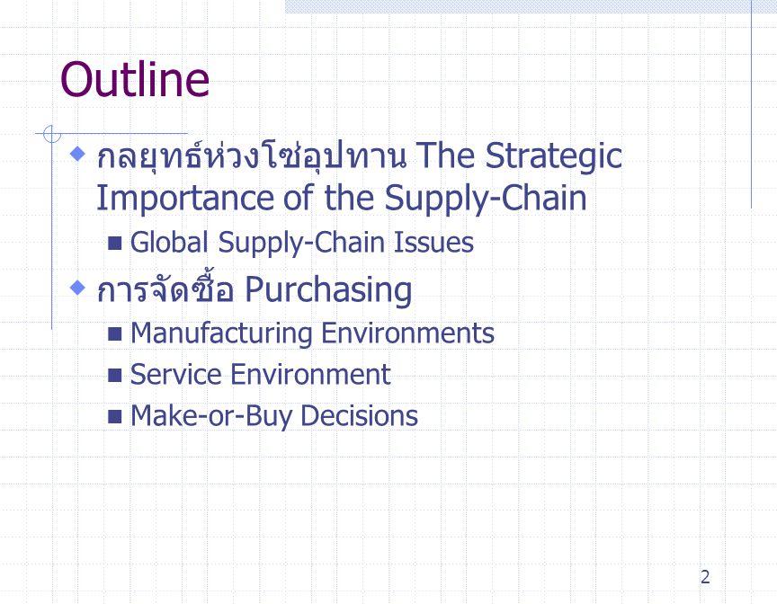 3 Outline - continued  กลยุทธ์ห่วงโซ่อุปทาน Supply-Chain Strategies Many Suppliers Few Suppliers Vertical Integration Keiretsu Networks Virtual Companies  การเลือกผู้ขาย Vendor Selection Vendor Evaluation Vendor Development Negotiations