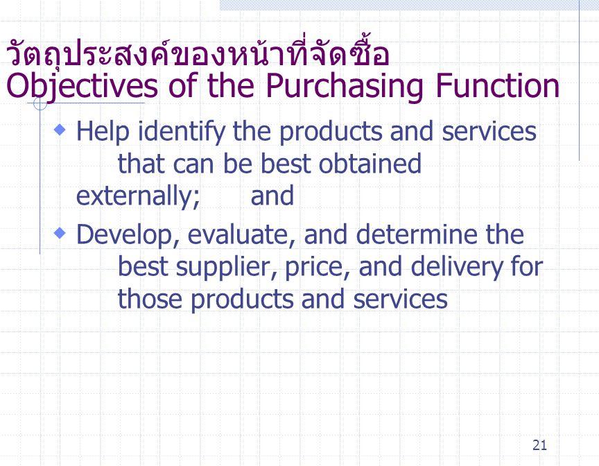 21 วัตถุประสงค์ของหน้าที่จัดซื้อ Objectives of the Purchasing Function  Help identify the products and services that can be best obtained externally;
