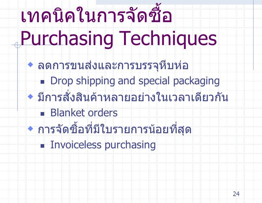 24 เทคนิคในการจัดซื้อ Purchasing Techniques  ลดการขนส่งและการบรรจุหีบห่อ Drop shipping and special packaging  มีการสั่งสินค้าหลายอย่างในเวลาเดียวกัน