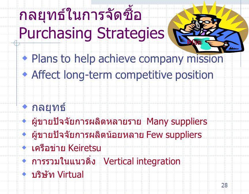 28  Plans to help achieve company mission  Affect long-term competitive position  กลยุทธ์  ผู้ขายปัจจัยการผลิตหลายราย Many suppliers  ผู้ขายปัจจั