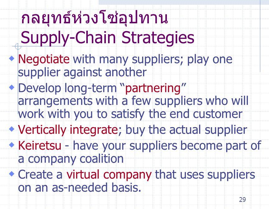 """29 กลยุทธ์ห่วงโซ่อุปทาน Supply-Chain Strategies  Negotiate with many suppliers; play one supplier against another  Develop long-term """" partnering """""""
