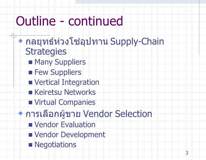 14 การนำห่วงโซ่อุปทาน ( ต่อ ) มาใช้ในการสนับสนุนกลยุทธ์ Supply-Chain Support for Overall Strategy ลักษณะของกระบวนการ Process Characteristics Low Cost รักษาระดับอรรถประโยชน์ เฉลี่ยในระดับที่สูง Response ลงทุนให้เกินกำลังการผลิต และมีกระบวนที่มีความยืดหยุ่น Differentiation กระบวนการผลิตที่มี มาตรฐาน mass customization