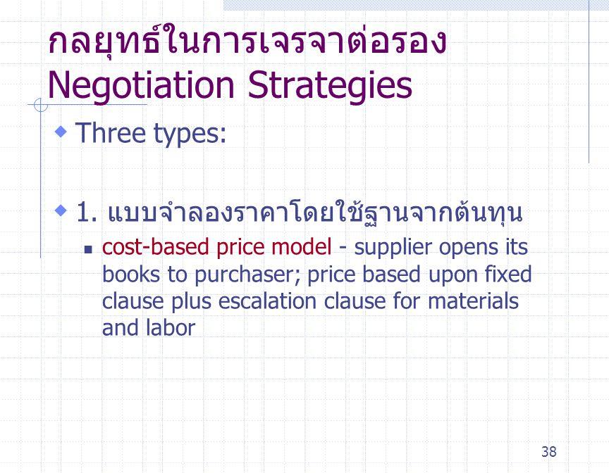 38 กลยุทธ์ในการเจรจาต่อรอง Negotiation Strategies  Three types:  1. แบบจำลองราคาโดยใช้ฐานจากต้นทุน cost-based price model - supplier opens its books