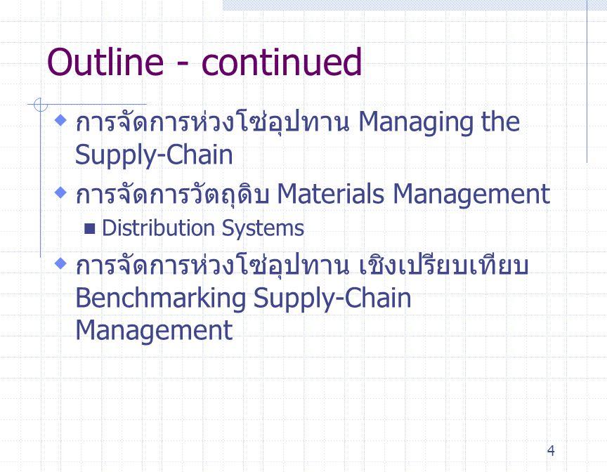45 การจัดการห่วงโซ่อุปทานเชิงเปรียบเทียบ Benchmarking Supply-Chain Management Number of suppliers per purchasing agent Purchasing costs as percent of purchases Lead time (weeks) Time spent placing an order 34 3.3% 15 42 minutes 5.8% 8 15 minutes Typical Firms Benchmark Firms