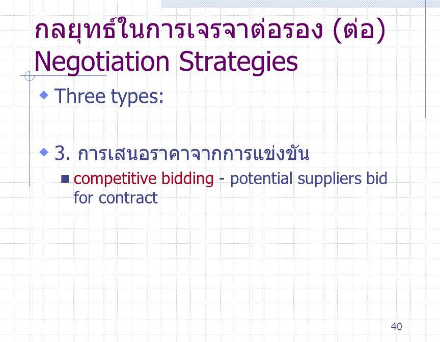 40 กลยุทธ์ในการเจรจาต่อรอง (ต่อ) Negotiation Strategies  Three types:  3. การเสนอราคาจากการแข่งขัน competitive bidding - potential suppliers bid for