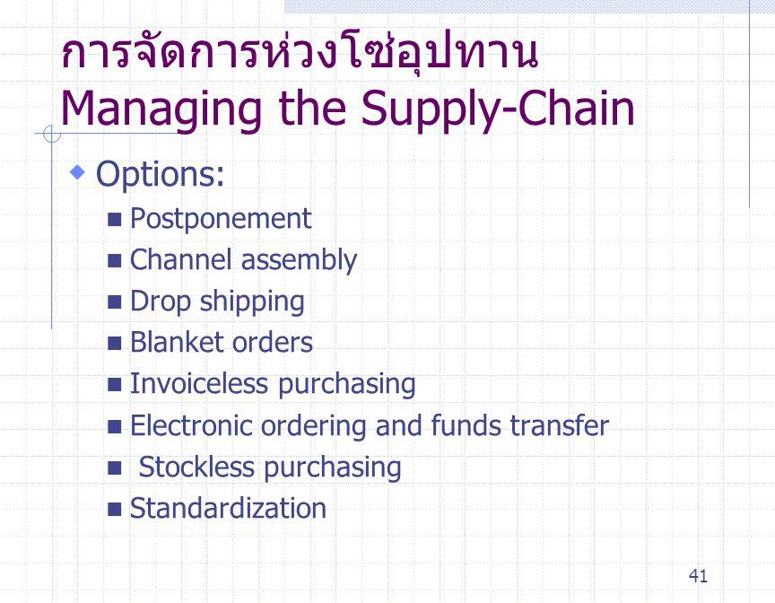 41 การจัดการห่วงโซ่อุปทาน Managing the Supply-Chain  Options: Postponement Channel assembly Drop shipping Blanket orders Invoiceless purchasing Elect