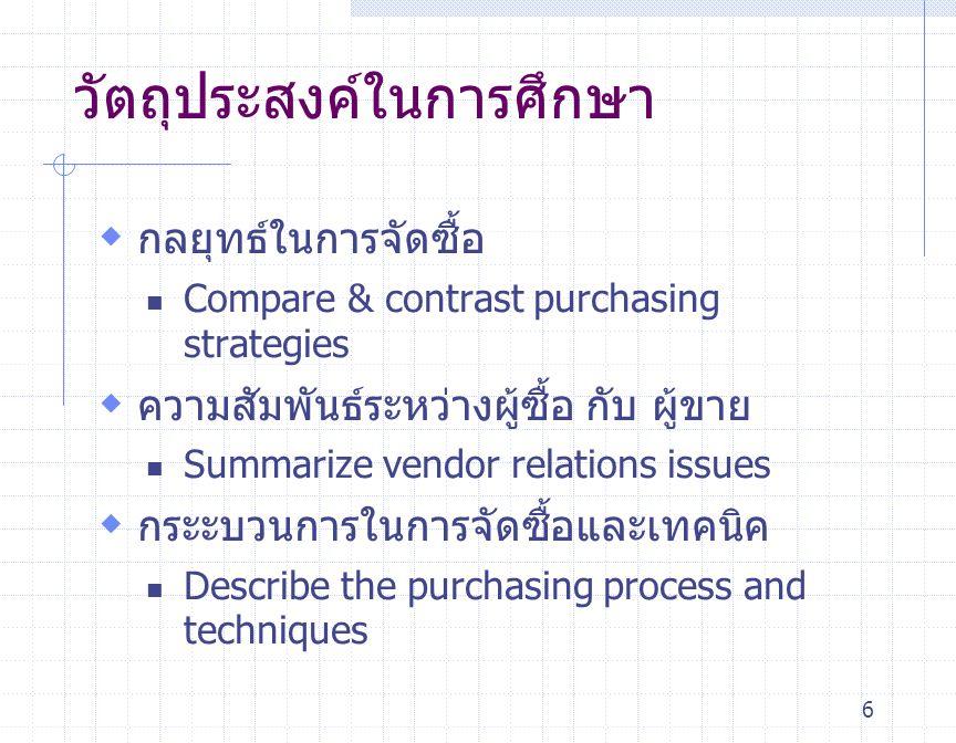 6  กลยุทธ์ในการจัดซื้อ Compare & contrast purchasing strategies  ความสัมพันธ์ระหว่างผู้ซื้อ กับ ผู้ขาย Summarize vendor relations issues  กระะบวนกา